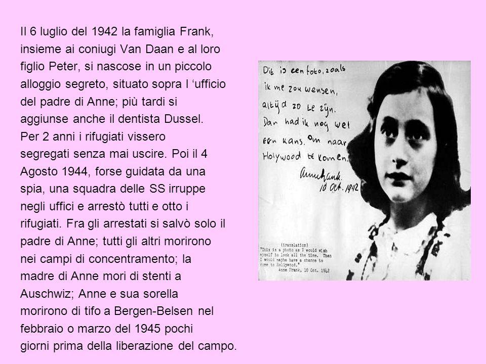 Il 6 luglio del 1942 la famiglia Frank, insieme ai coniugi Van Daan e al loro figlio Peter, si nascose in un piccolo alloggio segreto, situato sopra l