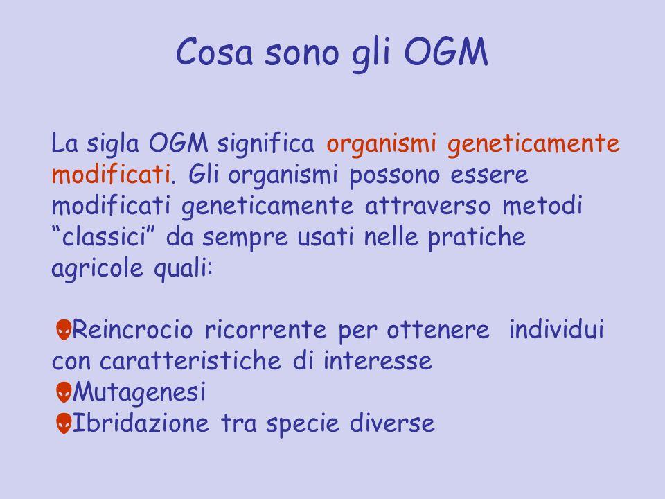 Cosa sono gli OGM La sigla OGM significa organismi geneticamente modificati. Gli organismi possono essere modificati geneticamente attraverso metodi c
