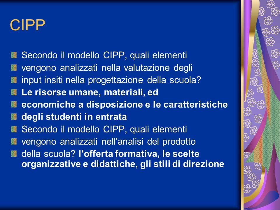 CIPP Secondo il modello CIPP, quali elementi vengono analizzati nella valutazione degli input insiti nella progettazione della scuola.