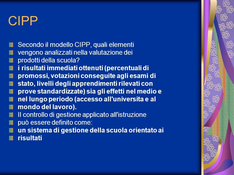 CIPP Secondo il modello CIPP, quali elementi vengono analizzati nella valutazione dei prodotti della scuola.