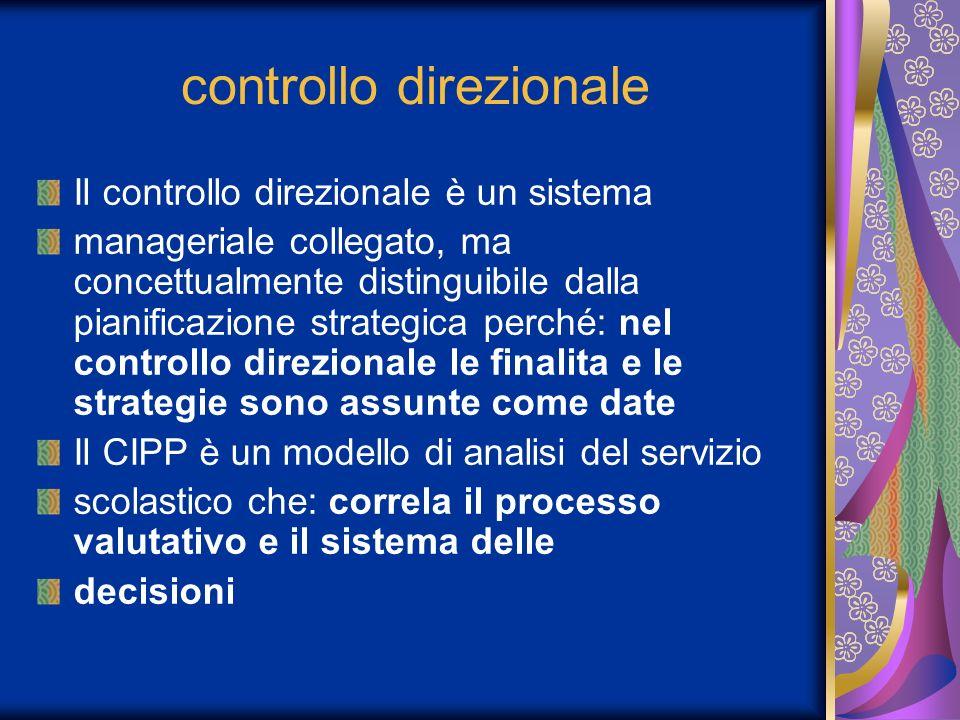 controllo direzionale Il controllo direzionale è un sistema manageriale collegato, ma concettualmente distinguibile dalla pianificazione strategica perché: nel controllo direzionale le finalita e le strategie sono assunte come date Il CIPP è un modello di analisi del servizio scolastico che: correla il processo valutativo e il sistema delle decisioni