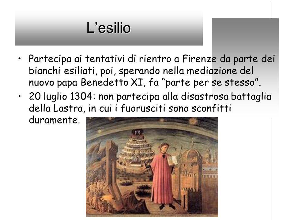 Lesilio Partecipa ai tentativi di rientro a Firenze da parte dei bianchi esiliati, poi, sperando nella mediazione del nuovo papa Benedetto XI, fa part