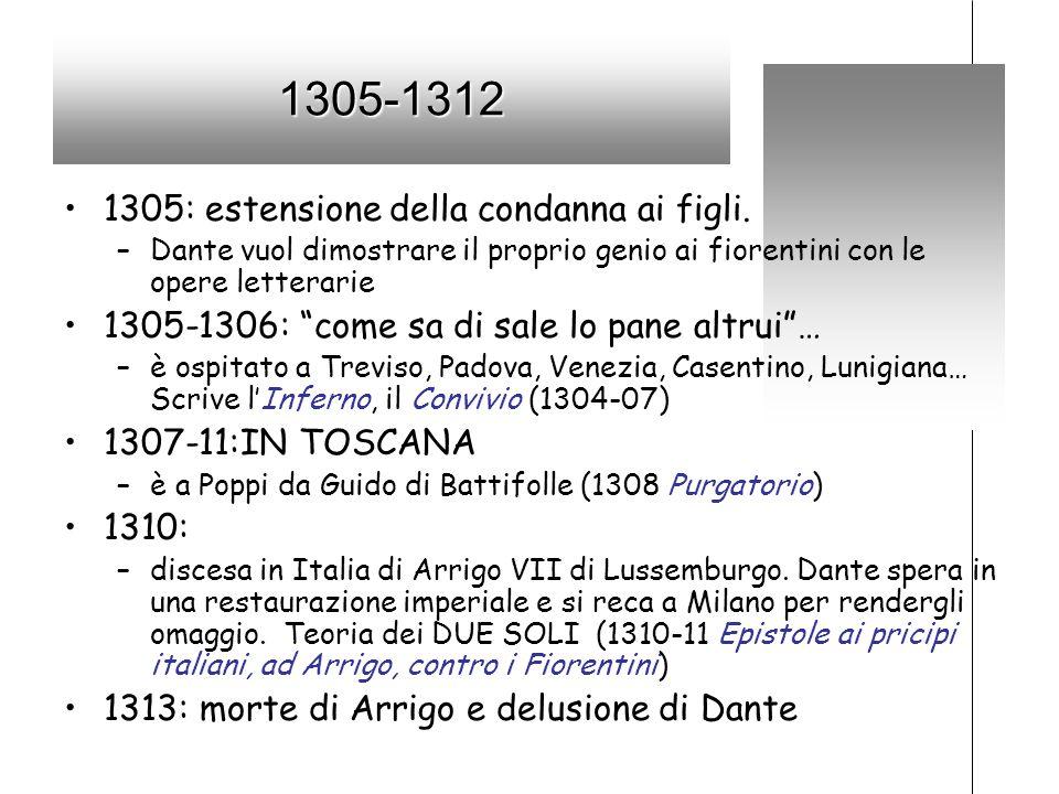 1305-1312 1305: estensione della condanna ai figli. –Dante vuol dimostrare il proprio genio ai fiorentini con le opere letterarie 1305-1306: come sa d