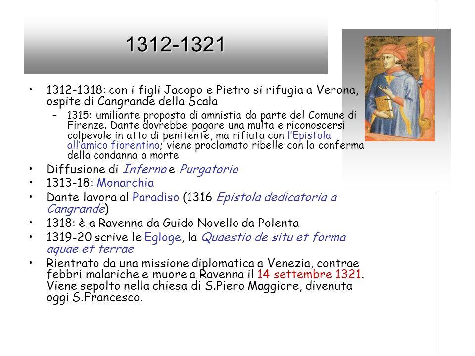 1312-1321 1312-1318: con i figli Jacopo e Pietro si rifugia a Verona, ospite di Cangrande della Scala –1315: umiliante proposta di amnistia da parte d