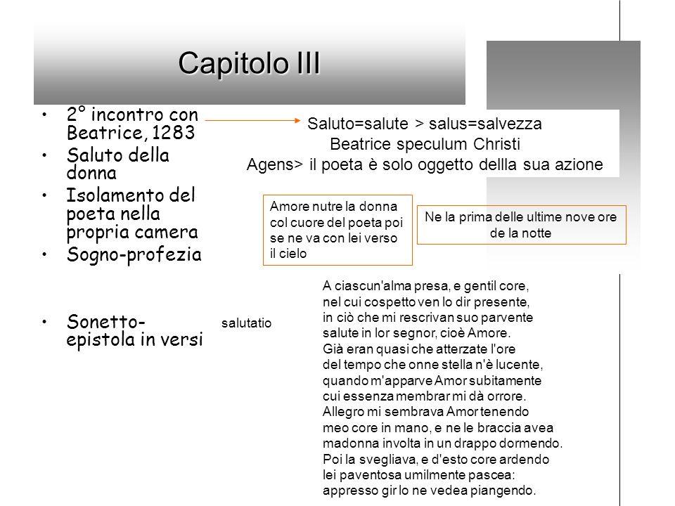 Capitolo III 2° incontro con Beatrice, 1283 Saluto della donna Isolamento del poeta nella propria camera Sogno-profezia Sonetto- epistola in versi Sal