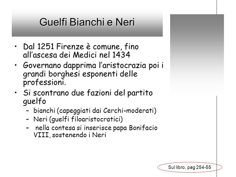 Guelfi Bianchi e Neri Dal 1251 Firenze è comune, fino allascesa dei Medici nel 1434 Governano dapprima laristocrazia poi i grandi borghesi esponenti d