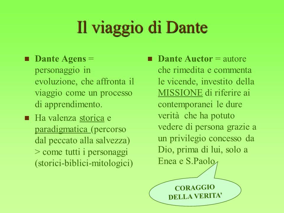 Il viaggio di Dante Dante Agens = personaggio in evoluzione, che affronta il viaggio come un processo di apprendimento. Ha valenza storica e paradigma