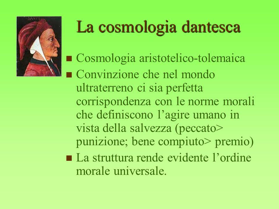 La cosmologia dantesca Cosmologia aristotelico-tolemaica Convinzione che nel mondo ultraterreno ci sia perfetta corrispondenza con le norme morali che