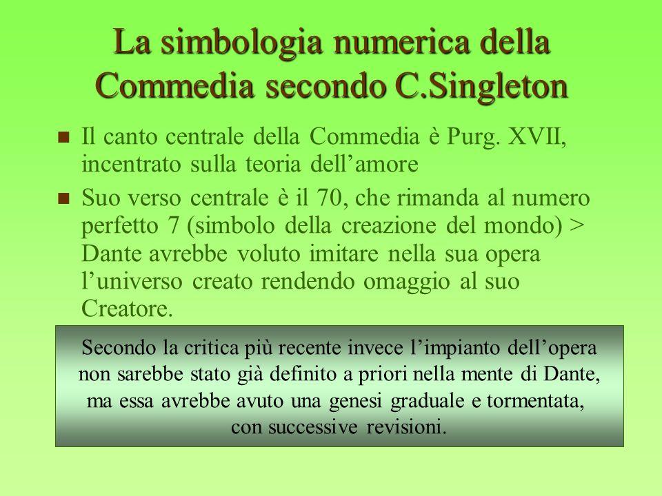 La simbologia numerica della Commedia secondo C.Singleton Il canto centrale della Commedia è Purg. XVII, incentrato sulla teoria dellamore Suo verso c
