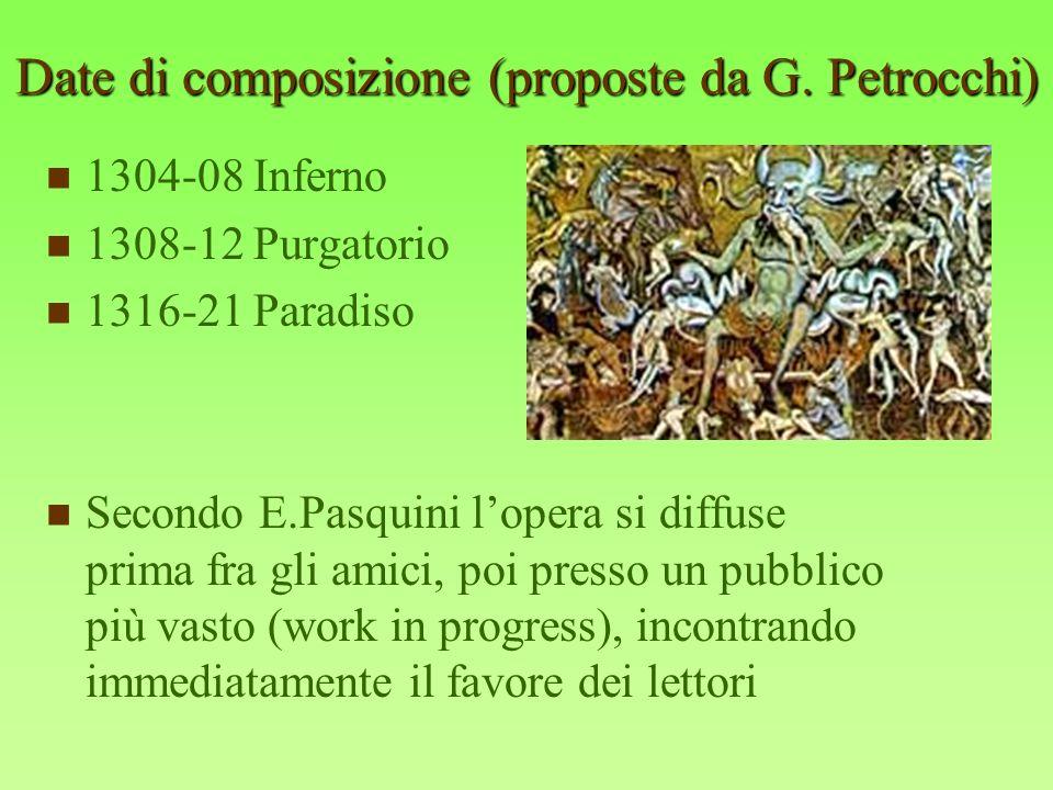 Date di composizione (proposte da G. Petrocchi) 1304-08 Inferno 1308-12 Purgatorio 1316-21 Paradiso Secondo E.Pasquini lopera si diffuse prima fra gli