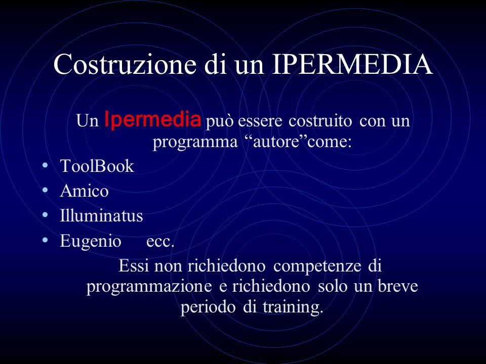 Costruzione di un IPERMEDIA Un Ipermedia può essere costruito con un programma autorecome: ToolBook Amico Illuminatus Eugenio ecc. Essi non richiedono