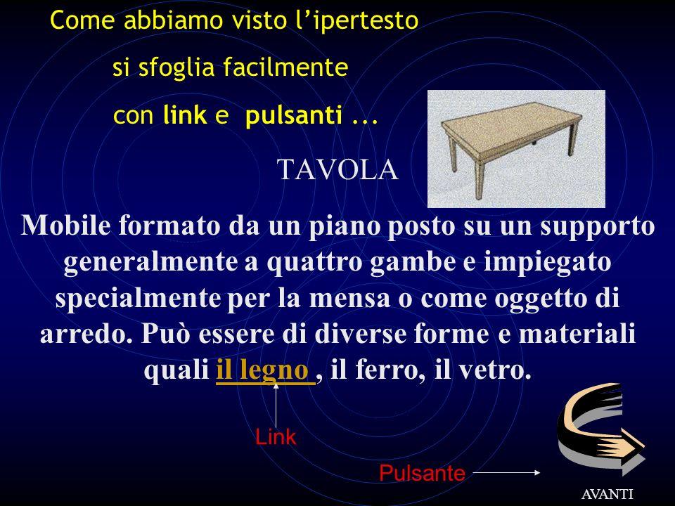 TAVOLA Mobile formato da un piano posto su un supporto generalmente a quattro gambe e impiegato specialmente per la mensa o come oggetto di arredo. Pu