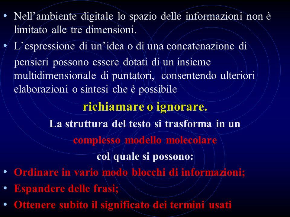Nellambiente digitale lo spazio delle informazioni non è limitato alle tre dimensioni. Lespressione di unidea o di una concatenazione di pensieri poss