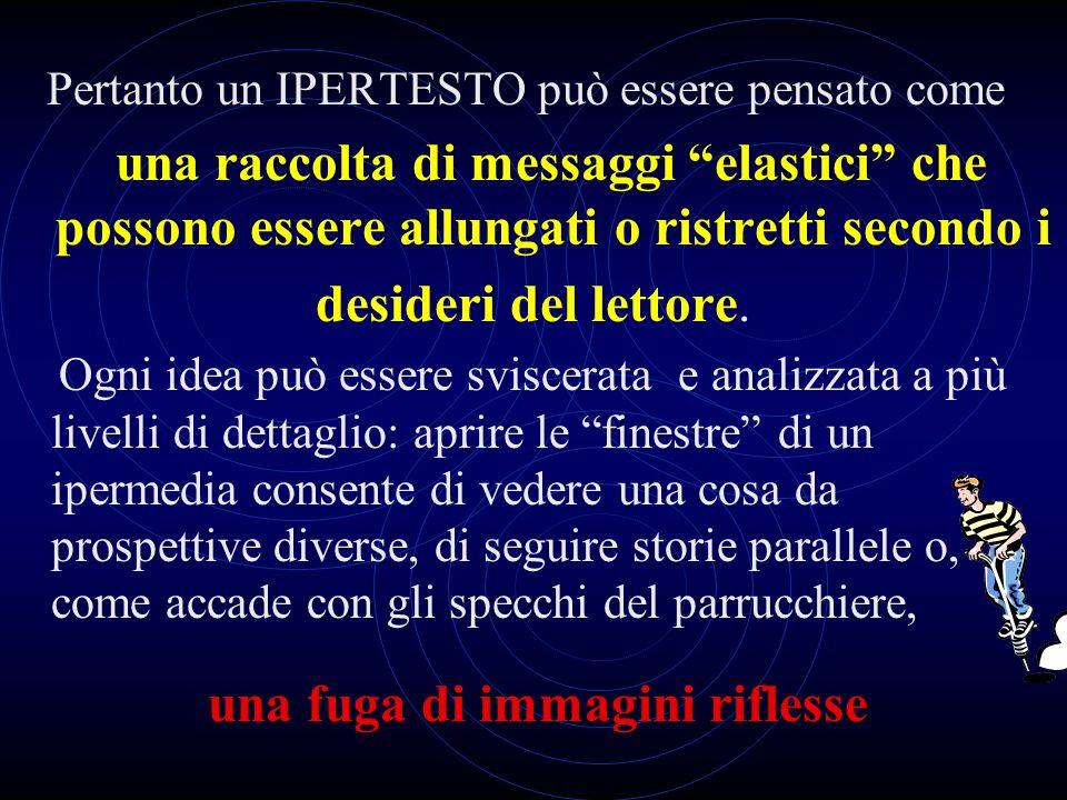 Pertanto un IPERTESTO può essere pensato come una raccolta di messaggi elastici che possono essere allungati o ristretti secondo i desideri del lettor