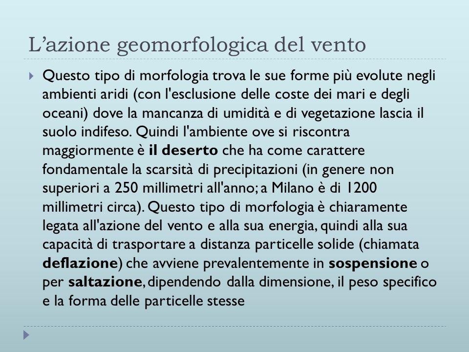 Lazione geomorfologica del vento Questo tipo di morfologia trova le sue forme più evolute negli ambienti aridi (con l'esclusione delle coste dei mari