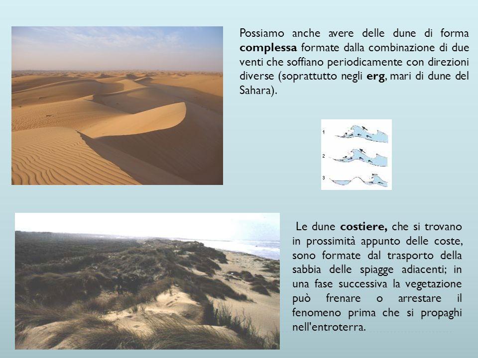 Possiamo anche avere delle dune di forma complessa formate dalla combinazione di due venti che soffiano periodicamente con direzioni diverse (soprattu