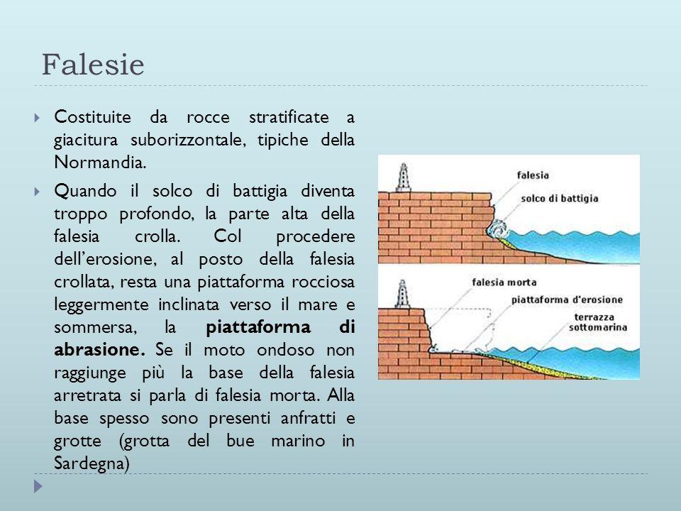 Falesie Costituite da rocce stratificate a giacitura suborizzontale, tipiche della Normandia. Quando il solco di battigia diventa troppo profondo, la