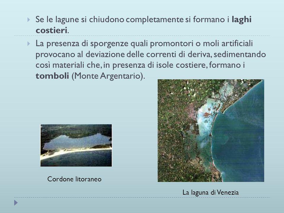 Se le lagune si chiudono completamente si formano i laghi costieri. La presenza di sporgenze quali promontori o moli artificiali provocano al deviazio