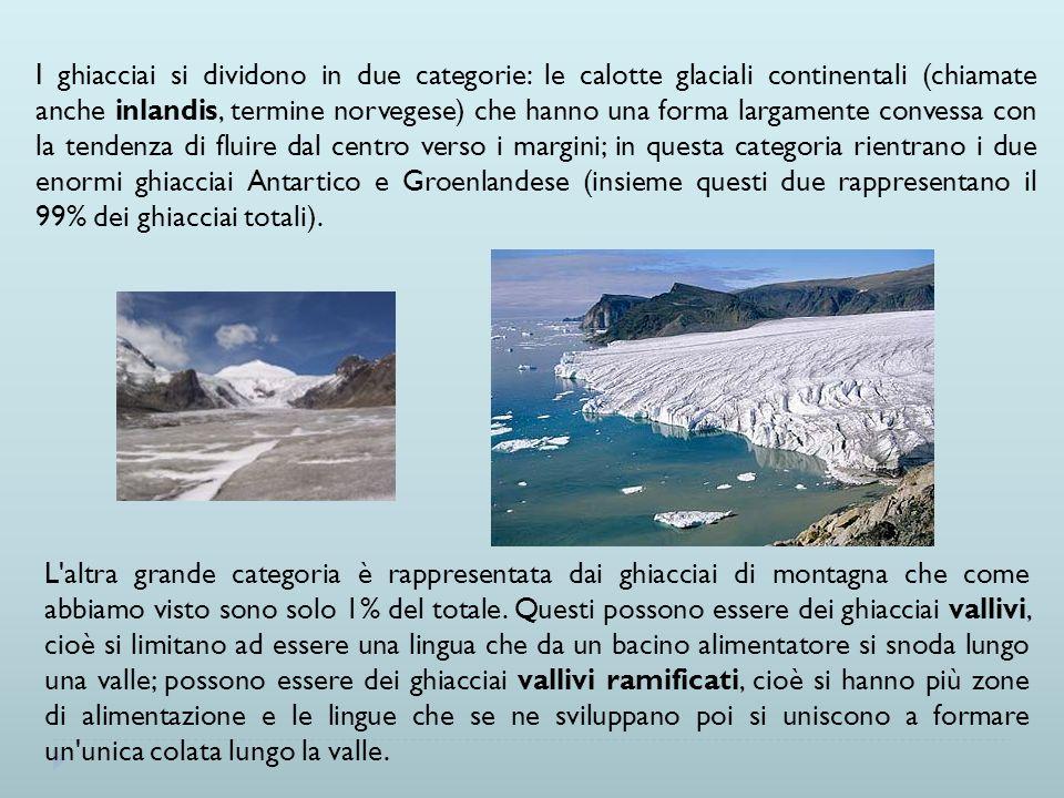I ghiacciai si dividono in due categorie: le calotte glaciali continentali (chiamate anche inlandis, termine norvegese) che hanno una forma largamente