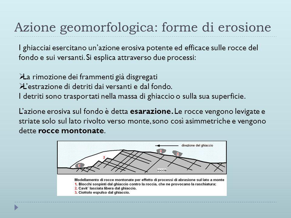 Azione geomorfologica: forme di erosione I ghiacciai esercitano unazione erosiva potente ed efficace sulle rocce del fondo e sui versanti. Si esplica