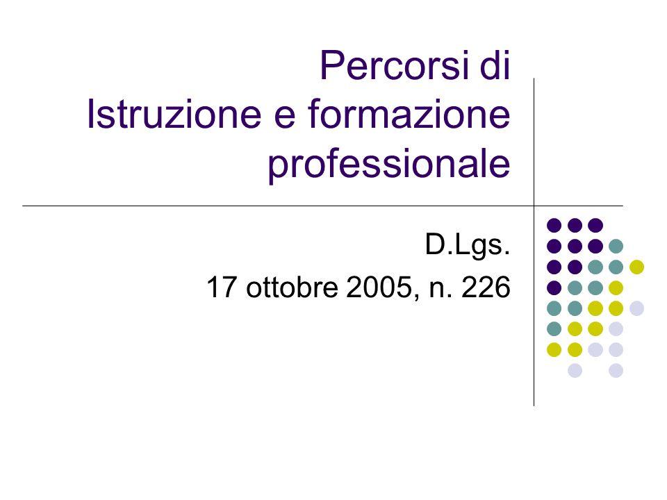 Percorsi di Istruzione e formazione professionale D.Lgs. 17 ottobre 2005, n. 226