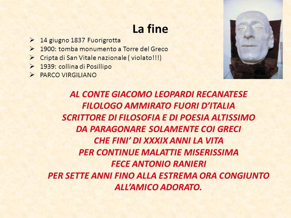 La fine 14 giugno 1837 Fuorigrotta 1900: tomba monumento a Torre del Greco Cripta di San Vitale nazionale ( violato!!!) 1939: collina di Posillipo PAR