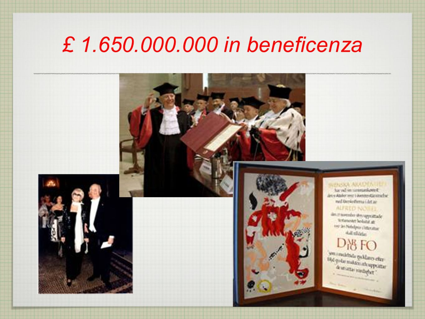 £ 1.650.000.000 in beneficenza