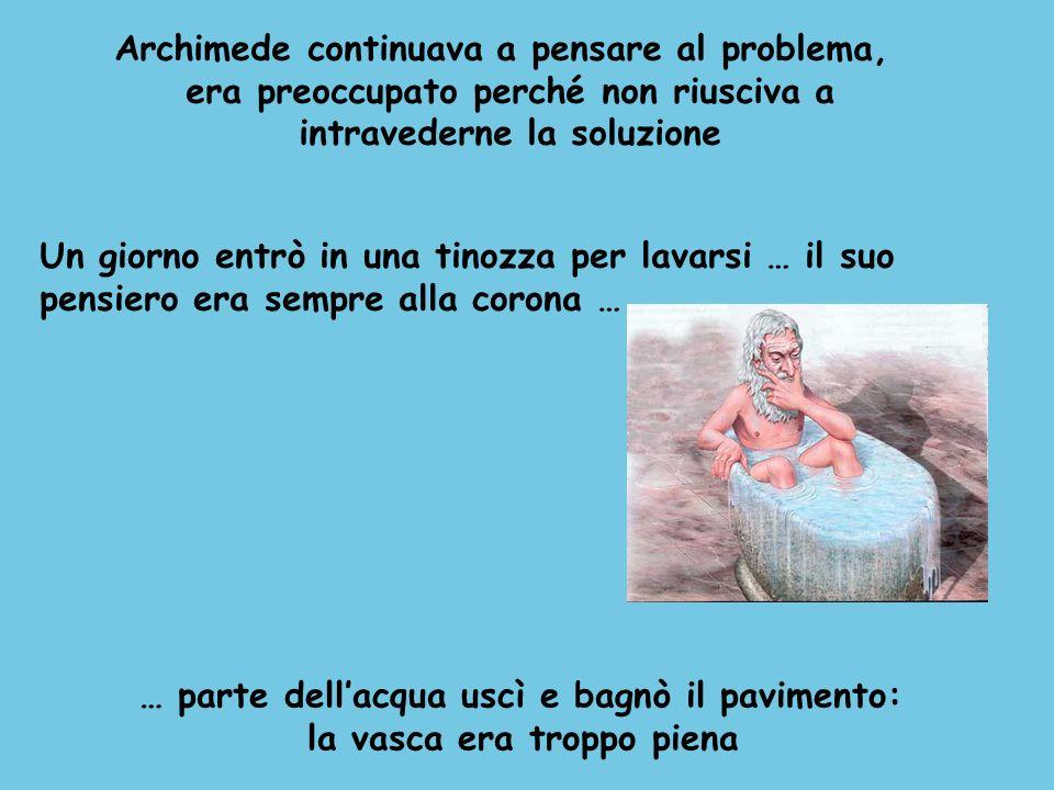 Archimede continuava a pensare al problema, era preoccupato perché non riusciva a intravederne la soluzione Un giorno entrò in una tinozza per lavarsi