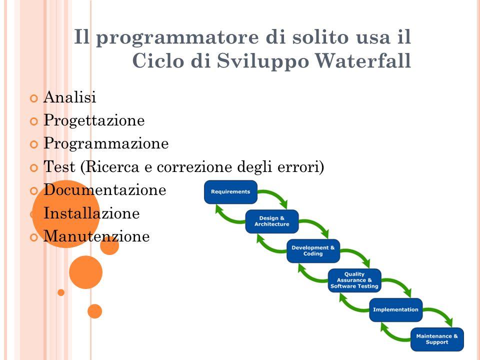 Il programmatore di solito usa il Ciclo di Sviluppo Waterfall Analisi Progettazione Programmazione Test (Ricerca e correzione degli errori) Documentaz