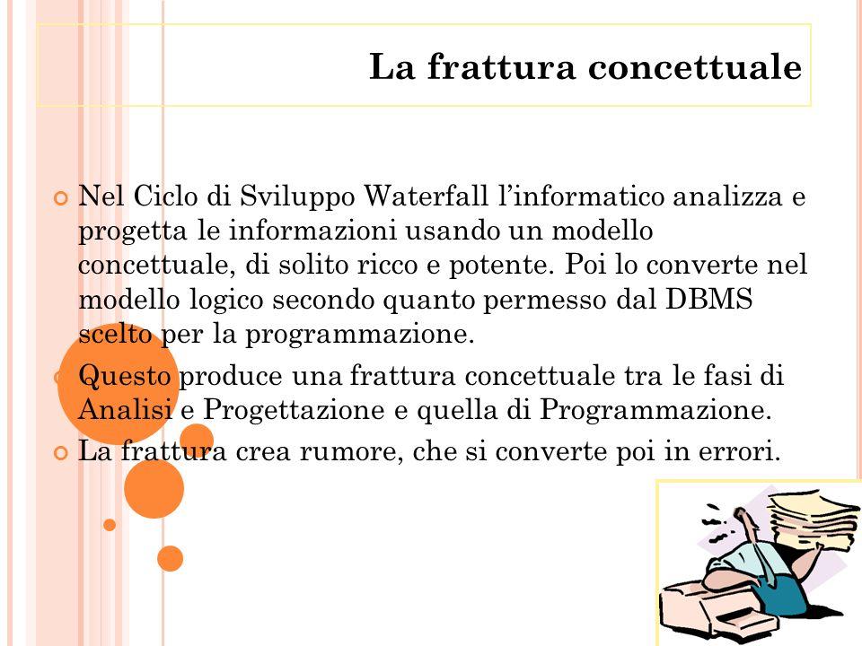 Nel Ciclo di Sviluppo Waterfall linformatico analizza e progetta le informazioni usando un modello concettuale, di solito ricco e potente. Poi lo conv
