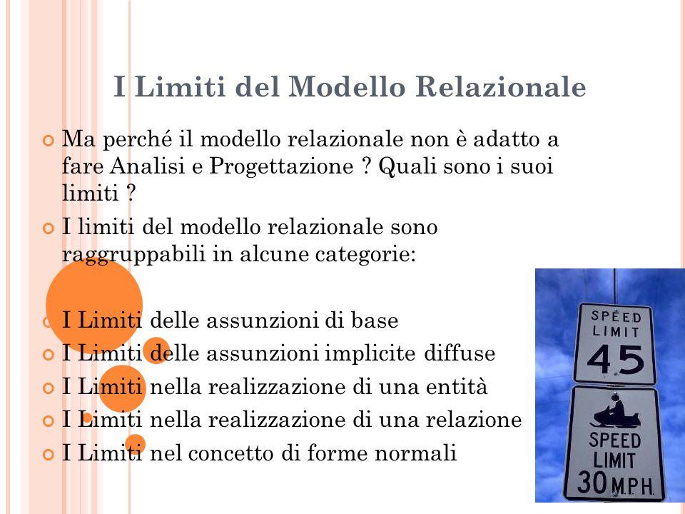 I Limiti del Modello Relazionale Ma perché il modello relazionale non è adatto a fare Analisi e Progettazione ? Quali sono i suoi limiti ? I limiti de