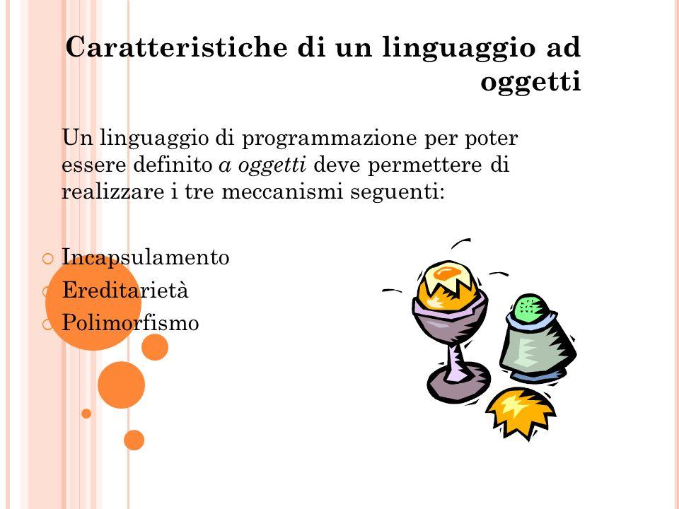 Caratteristiche di un linguaggio ad oggetti Un linguaggio di programmazione per poter essere definito a oggetti deve permettere di realizzare i tre me