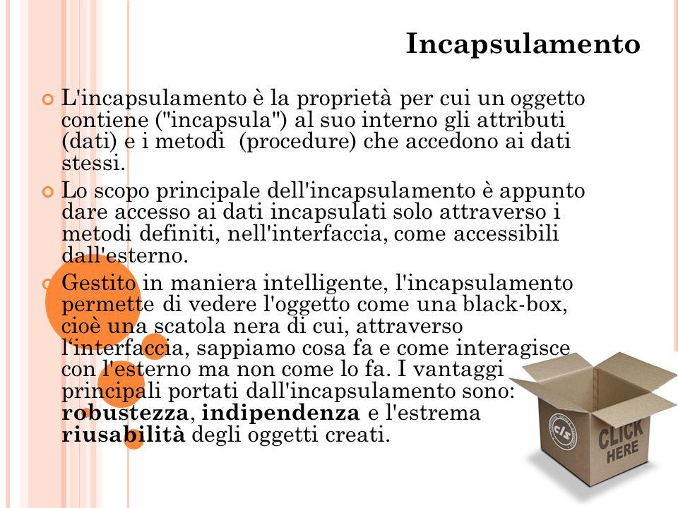 Incapsulamento L'incapsulamento è la proprietà per cui un oggetto contiene (