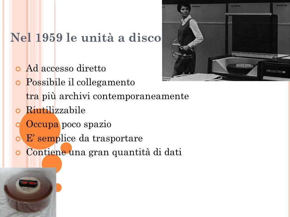 Nel 1959 le unità a disco Ad accesso diretto Possibile il collegamento tra più archivi contemporaneamente Riutilizzabile Occupa poco spazio E semplice