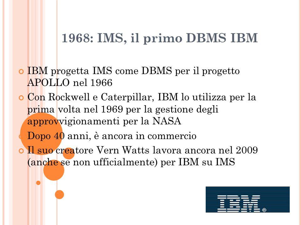 1968: IMS, il primo DBMS IBM IBM progetta IMS come DBMS per il progetto APOLLO nel 1966 Con Rockwell e Caterpillar, IBM lo utilizza per la prima volta
