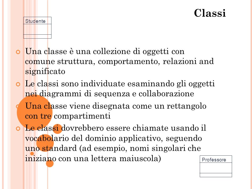 Classi Una classe è una collezione di oggetti con comune struttura, comportamento, relazioni and significato Le classi sono individuate esaminando gli