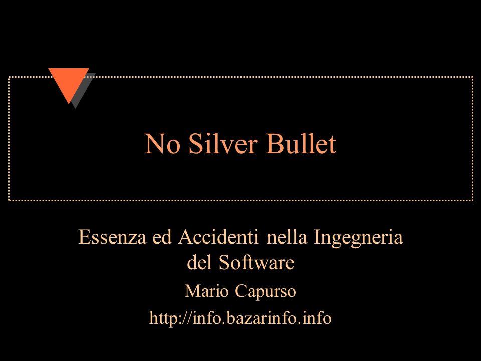 No Silver Bullet Essenza ed Accidenti nella Ingegneria del Software Mario Capurso http://info.bazarinfo.info