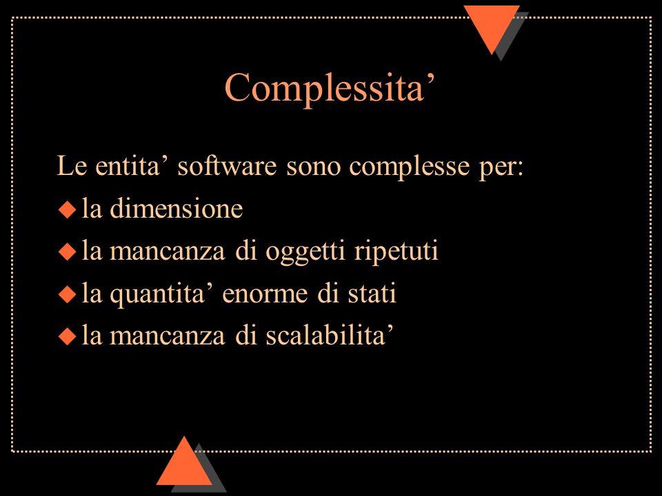 Complessita Le entita software sono complesse per: u la dimensione u la mancanza di oggetti ripetuti u la quantita enorme di stati u la mancanza di scalabilita