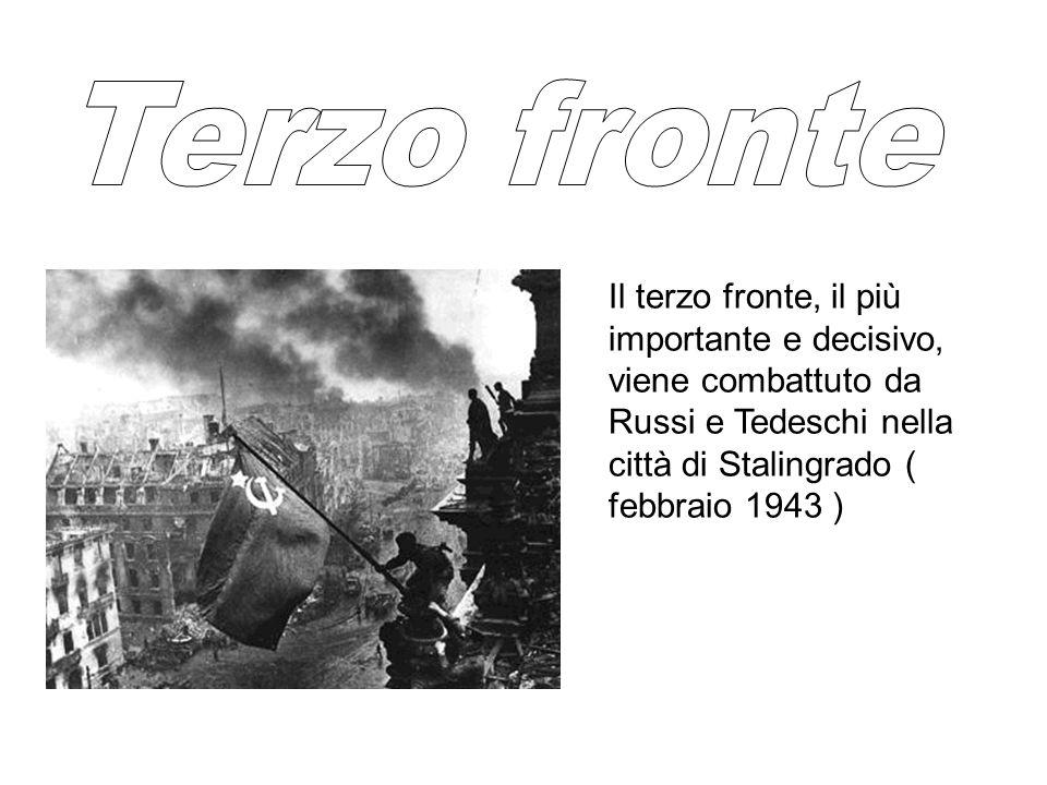 Il terzo fronte, il più importante e decisivo, viene combattuto da Russi e Tedeschi nella città di Stalingrado ( febbraio 1943 )