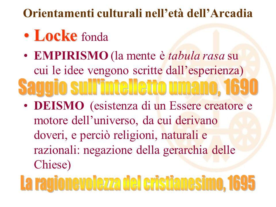 Orientamenti culturali nelletà dellArcadia LockeLocke fonda EMPIRISMO (la mente è tabula rasa su cui le idee vengono scritte dallesperienza) DEISMO (e