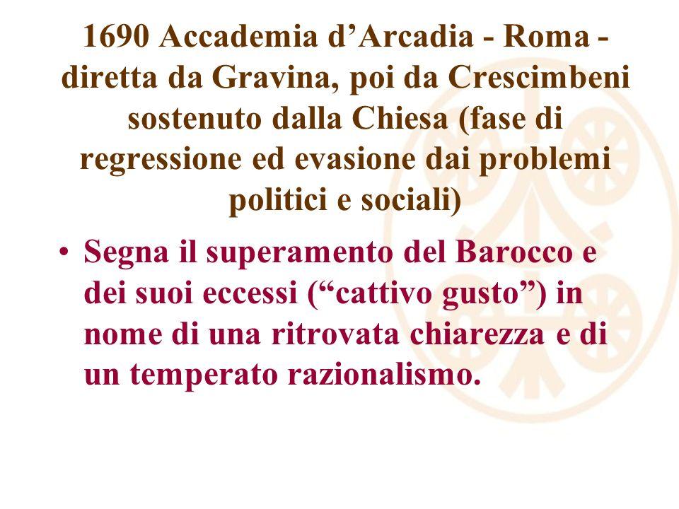 1690 Accademia dArcadia - Roma - diretta da Gravina, poi da Crescimbeni sostenuto dalla Chiesa (fase di regressione ed evasione dai problemi politici e sociali) Segna il superamento del Barocco e dei suoi eccessi (cattivo gusto) in nome di una ritrovata chiarezza e di un temperato razionalismo.