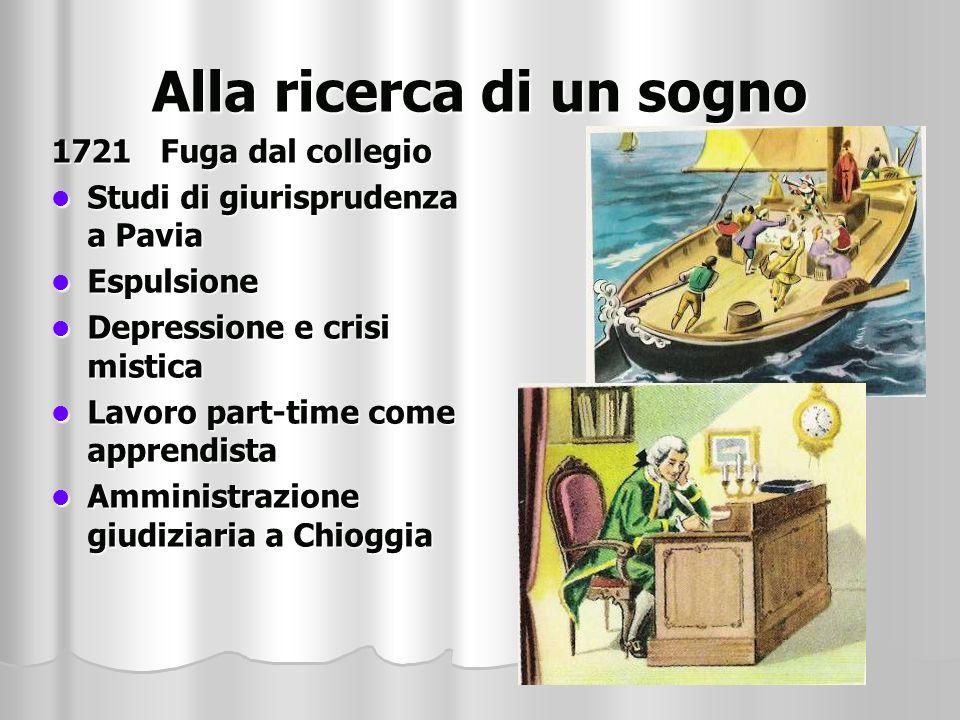 Alla ricerca di un sogno 1721 Fuga dal collegio Studi di giurisprudenza a Pavia Studi di giurisprudenza a Pavia Espulsione Espulsione Depressione e cr