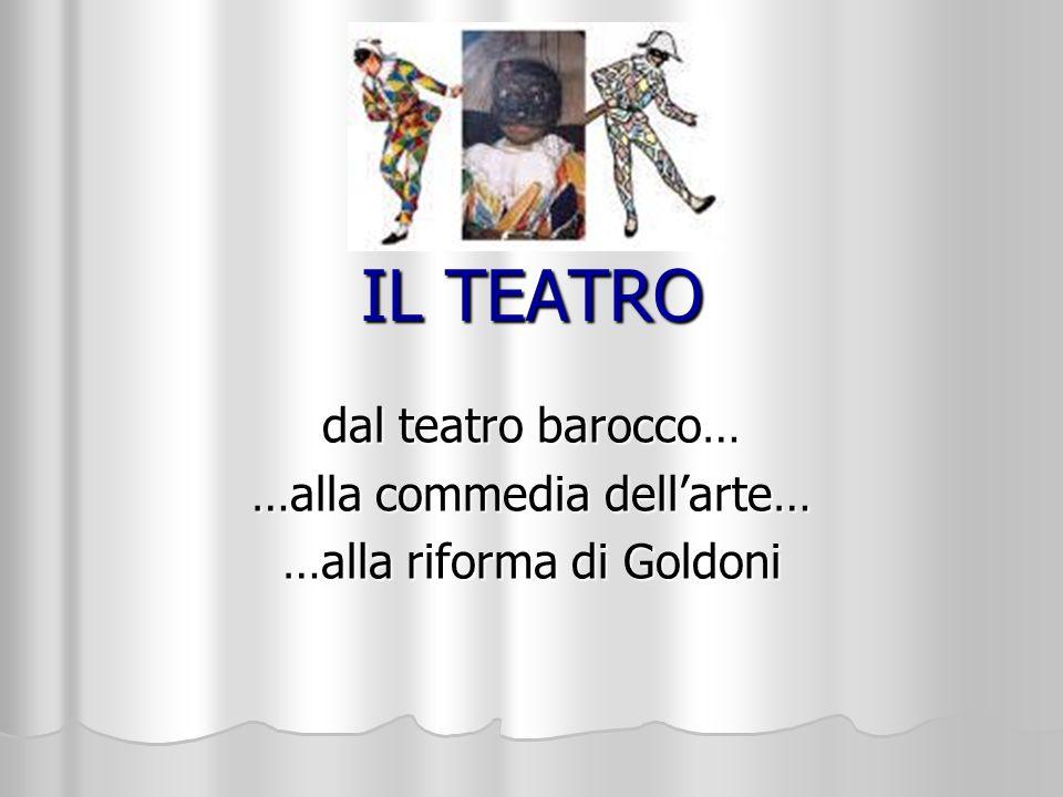 IL TEATRO dal teatro barocco… …alla commedia dellarte… …alla riforma di Goldoni