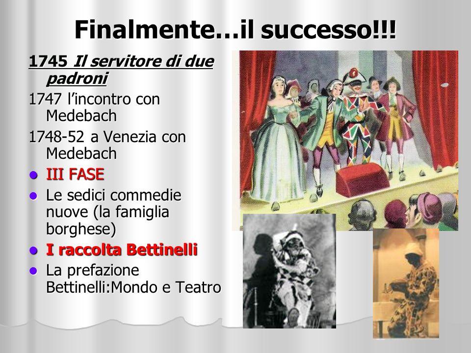 Finalmente…il successo!!! 1745 Il servitore di due padroni 1747 lincontro con Medebach 1748-52 a Venezia con Medebach III FASE Le sedici commedie nuov