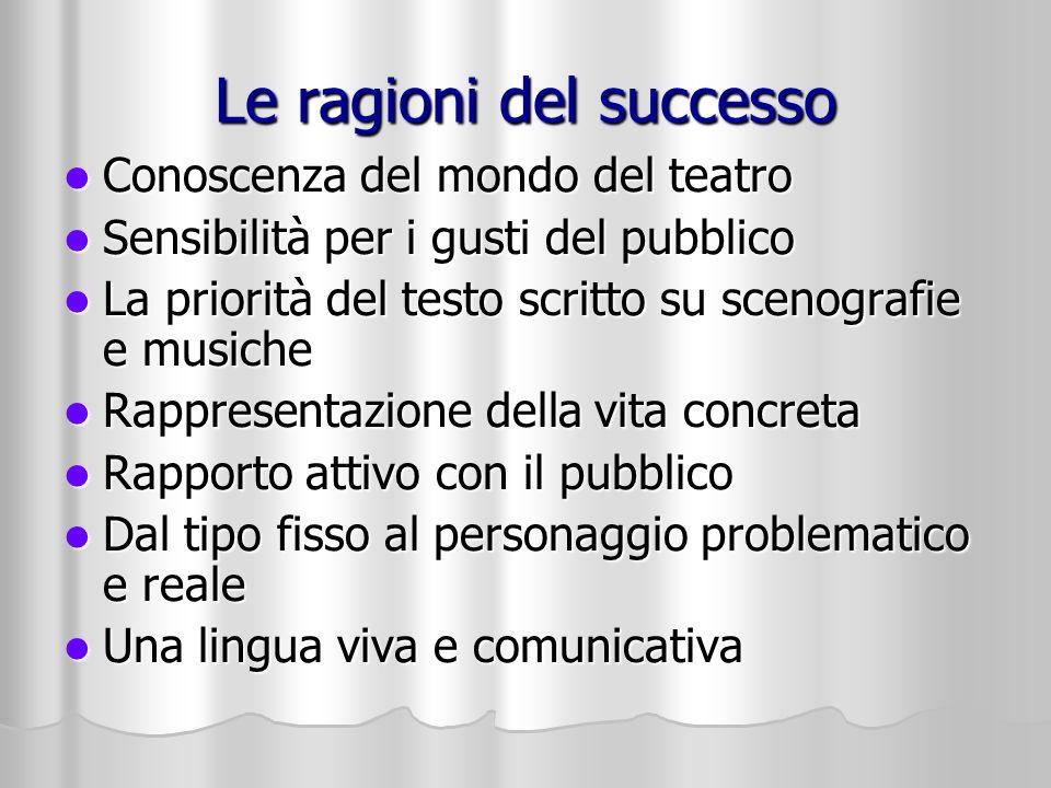 Le ragioni del successo Conoscenza del mondo del teatro Conoscenza del mondo del teatro Sensibilità per i gusti del pubblico Sensibilità per i gusti d