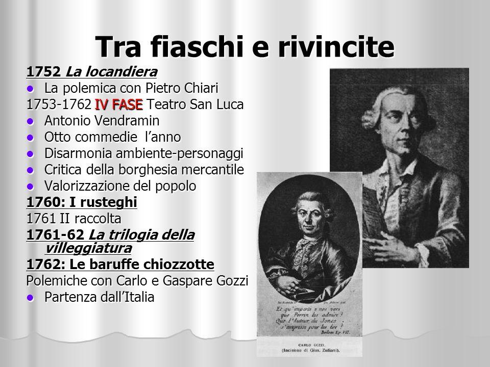 Tra fiaschi e rivincite 1752 La locandiera La polemica con Pietro Chiari La polemica con Pietro Chiari 1753-1762 IV FASE Teatro San Luca Antonio Vendr