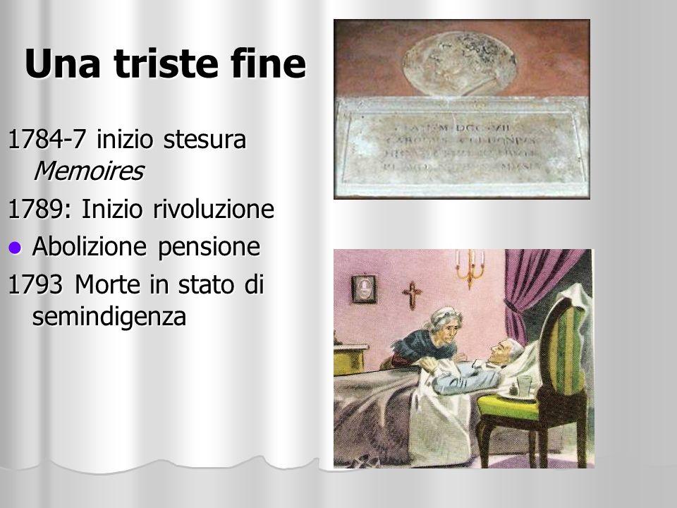 Una triste fine 1784-7 inizio stesura Memoires 1789: Inizio rivoluzione Abolizione pensione Abolizione pensione 1793Morte in stato di semindigenza