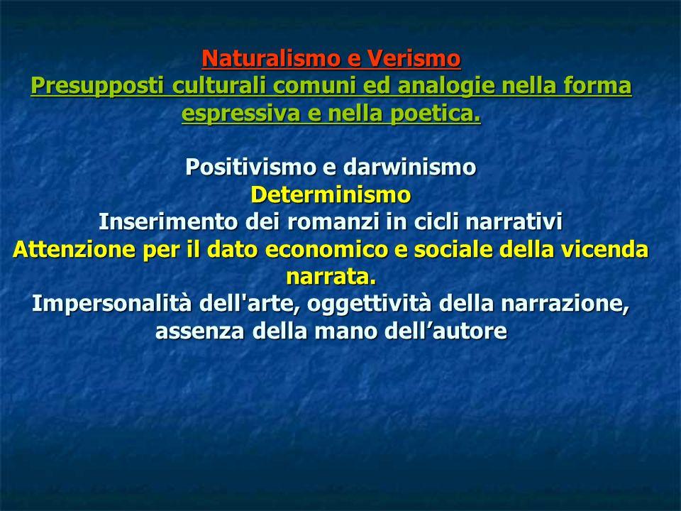 Naturalismo e Verismo Presupposti culturali comuni ed analogie nella forma espressiva e nella poetica. Positivismo e darwinismo Determinismo Inserimen