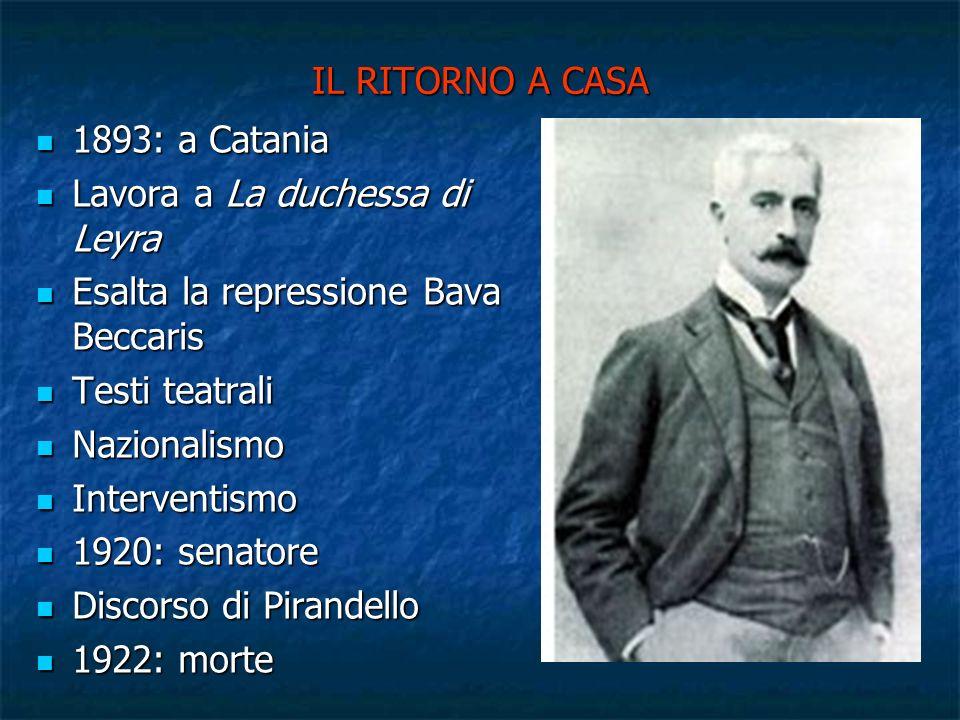 IL RITORNO A CASA 1893: a Catania 1893: a Catania Lavora a La duchessa di Leyra Lavora a La duchessa di Leyra Esalta la repressione Bava Beccaris Esal
