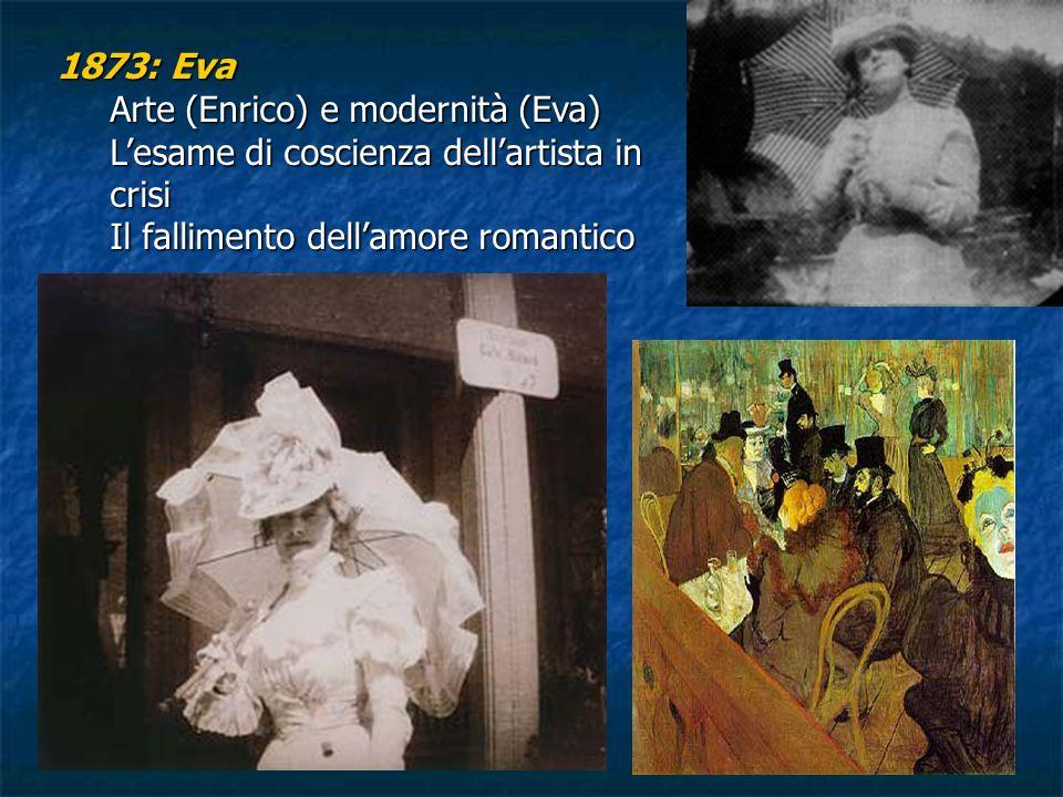 1873: Eva Arte (Enrico) e modernità (Eva) Lesame di coscienza dellartista in crisi Il fallimento dellamore romantico